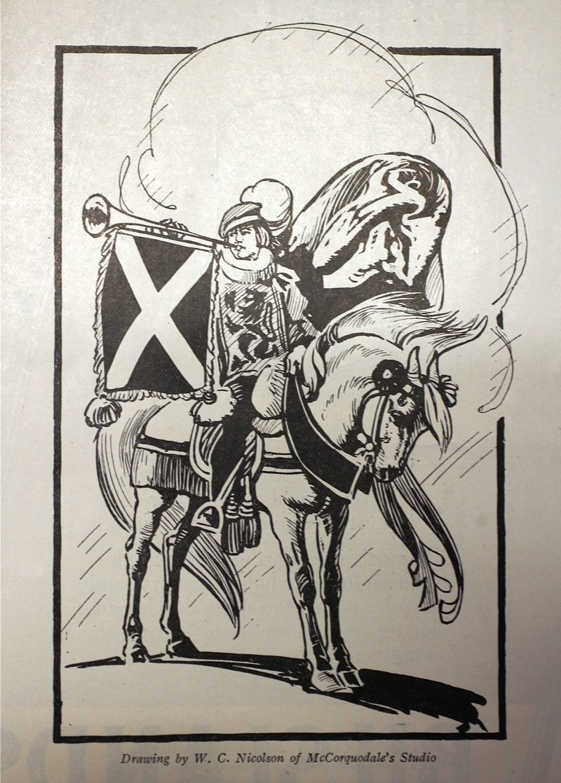 A drawing of a Herald Bearer in  in the The Story of the West: A Pageant of the Britons, the Vikings, the Traders and the Clans (Glasgow 1928).