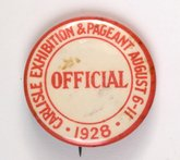 Official's badge at the 1928 Carlisle Pageant